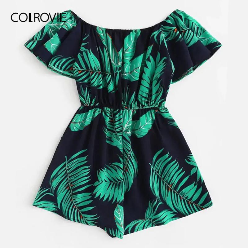 Colrovie Plus Size Off The Shoulder Tree Print Ruffle Boho Jumpsuit Mamelucos Mujeres 2019 Summer Short Sleeve Vacation Playsuits Y19071801