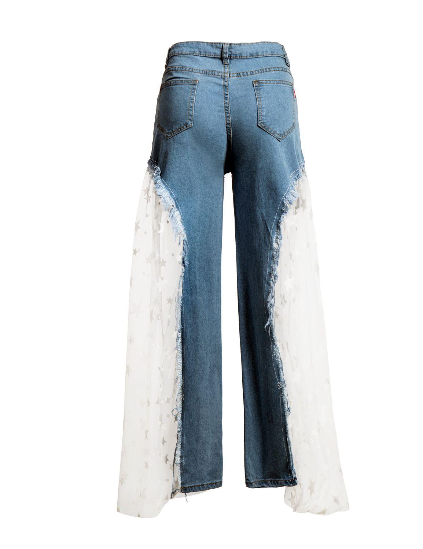 Großhandel Neueste Trendy Net Denim Getäfelten Mode Frauen Jeans 2019 Frühling Sommer Hohe Taille Blingbling Stern Pailletten Breite Beinjeans Lässige