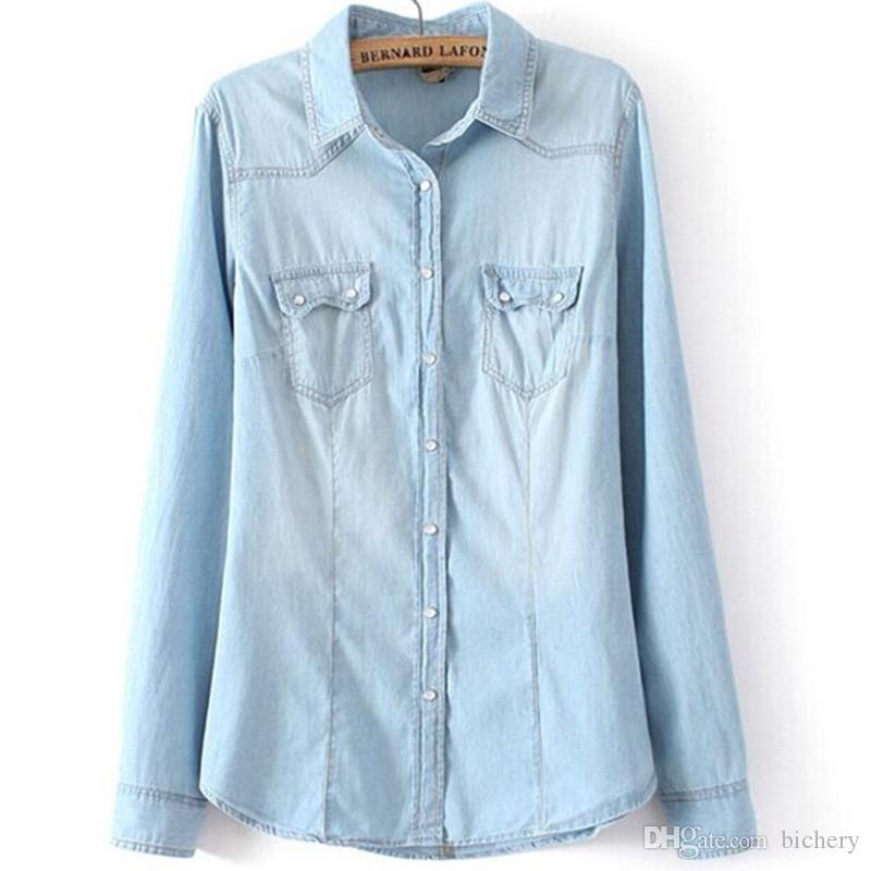 Großhandel Frauen Chambray Hemd Top Denim Hemden Und Blusen Langarm Snap Taste Cotton Damen Hemd Camisa Blusa Shirt Femininas Von Bichery, $49.05 Auf