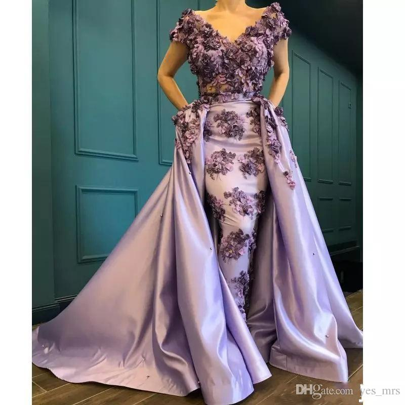 Light Purple Evening Dresses Wear 2020 New Design V Neck Lace Hand Made Flowers Cap Sleeves Detachable Train Party Dress Formal Prom Gowns