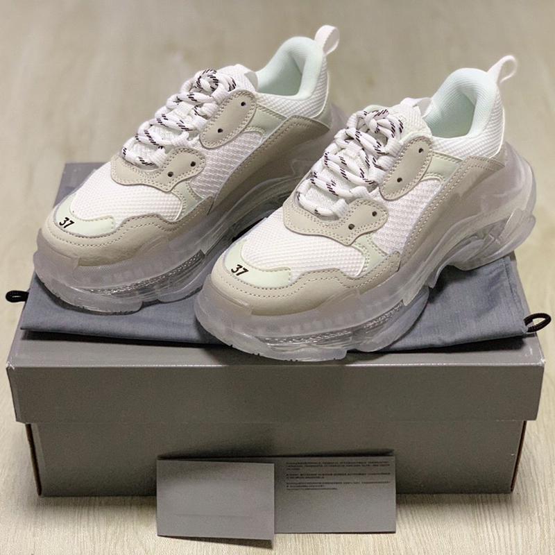 2020 Fashion Clear Sole Bottom Paris 17FW Triple S Mens Designer Sneakers Vintage Dad Platform Women Luxury Casual Shoes Sports Trainers
