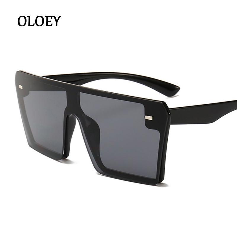 2019 Oversized Praça Sunglasses Mulheres Moda Flat Top Red Preto Limpar Lens One Piece Homens Gafas Sombra Espelho UV400