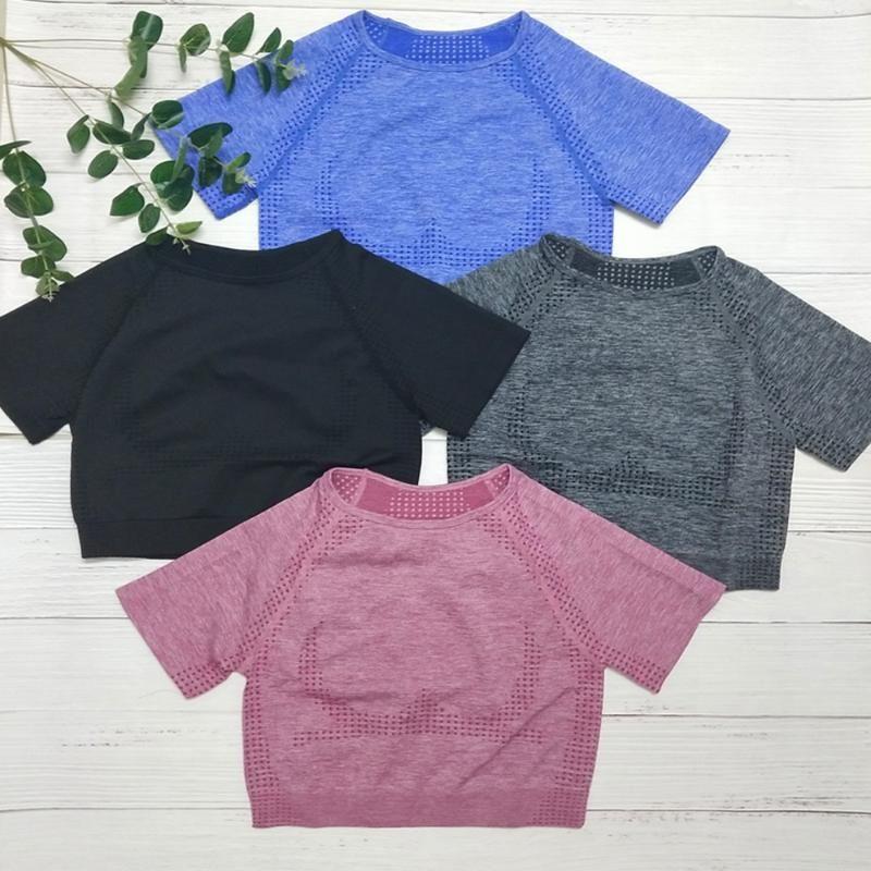 Solido Colore senza saldatura di yoga shirt Crop Maglia a manica corta Top Fitness Workout Top Gym Clothes Sportswear Running magliette XN