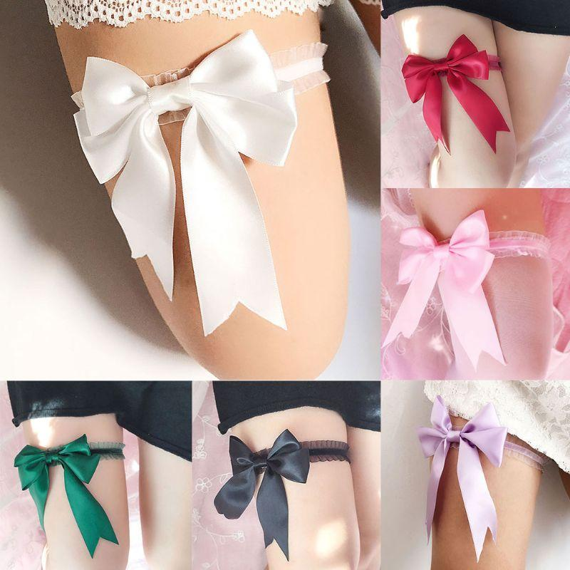 Elastic Girl Party Bridal Flower Bowknot Garter Lace White Pearl