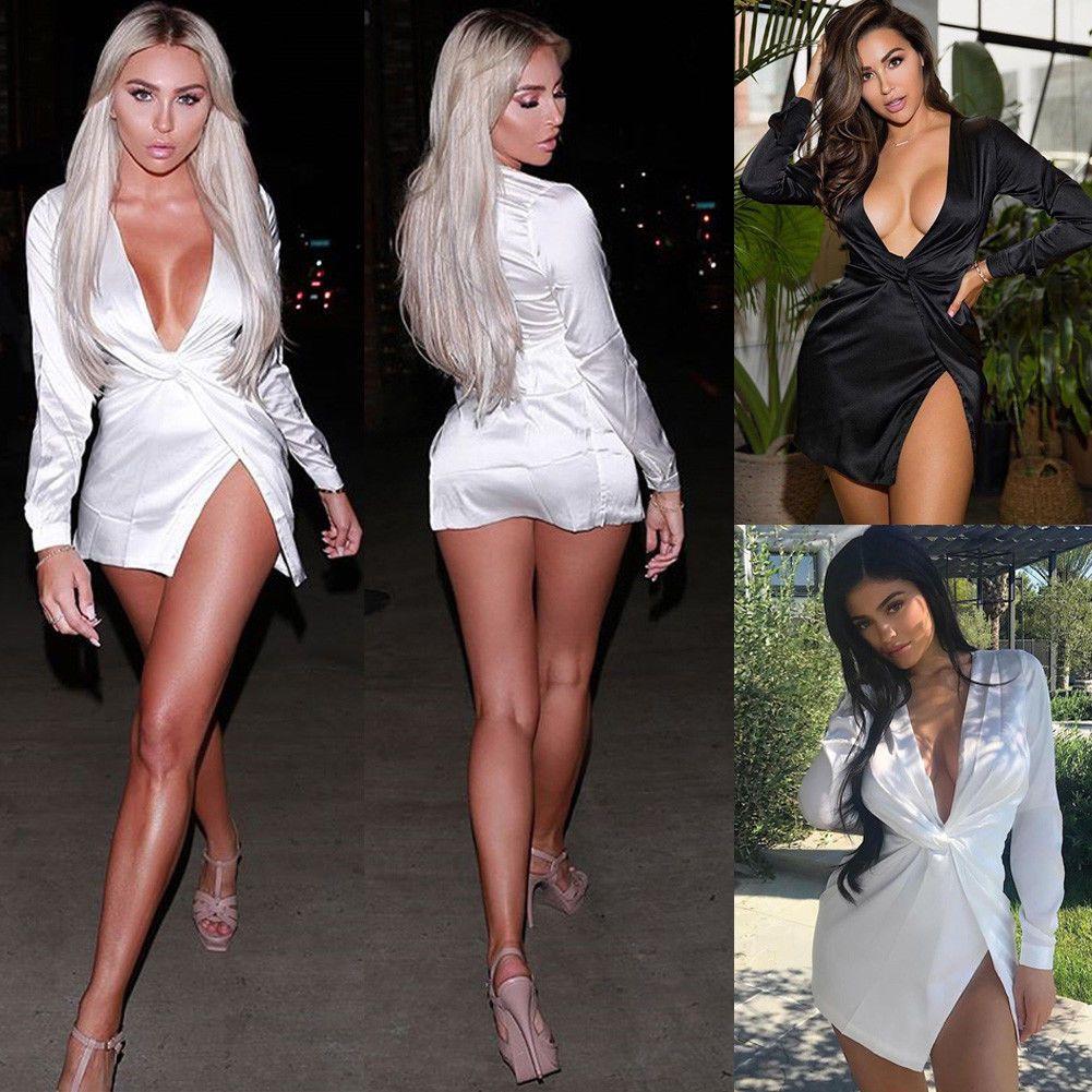 2019 Nuovo stile moda donne calde sexy scollo av solido manica lunga club wear partito mini abito spaccato seta