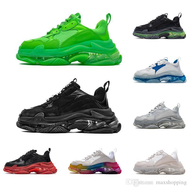 Tamaño de París 17FW Triple S Casual Diseñador Zapatos viejos papá zapatillas Triple Negro Azul Blanco para mujer para hombre Deportes Plataforma 36-45