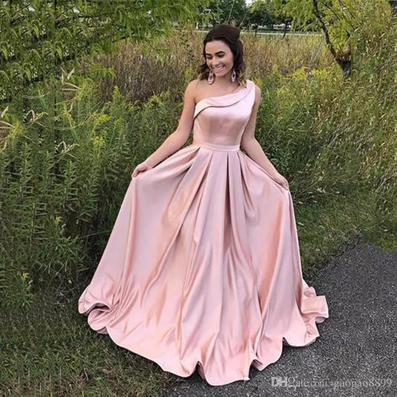 Elegant One Shoulder Blush Pink Evening Dresses Sleeveless A Line Sweep Train Formal Celebrity Prom Party Gowns Wear Navy Evening Dress Online Clothing Shop From Gaogao8899 105 5 Dhgate Com