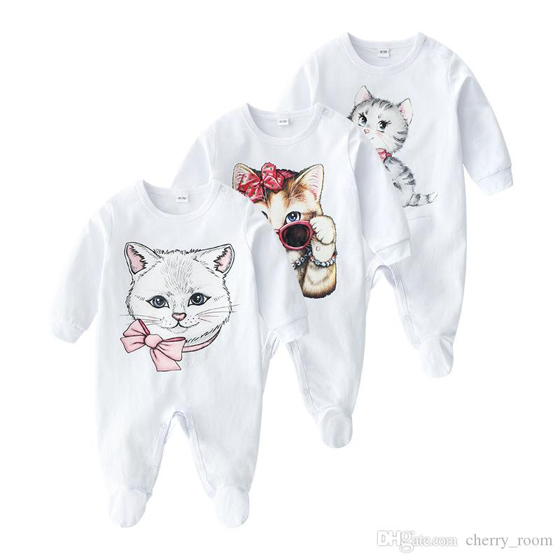 Newborn Boys Romper INS Spring Baby Girls Cat Printed Long Sleeve Jumpsuit Cute Fall Infant Cotton Casual Bodysuit Onesie C6088