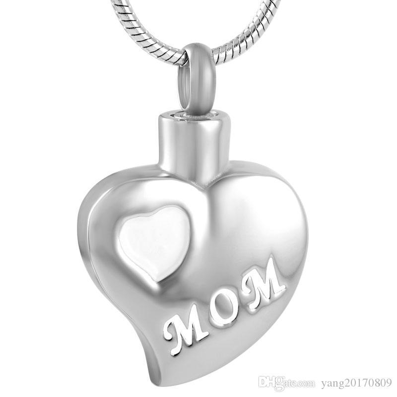 IJD9180 из нержавеющей стали белое сердце любовь Мама кремация серебряный кулон для пепла урна Мемориал ожерелье Формен и женщин с цепочкой ювелирных изделий