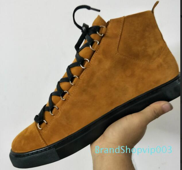 High Top enrugado couro mistura de cores marca de moda branco preto vermelho desenhador sapatas por atacado de alta qualidade Arena Sapatos Homem Sapatilha Casual