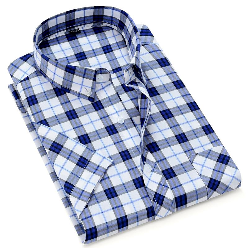 Men's Classical Plaid shirt Short sleeve Summer Style regular fit checked design mens casual pocket shirts