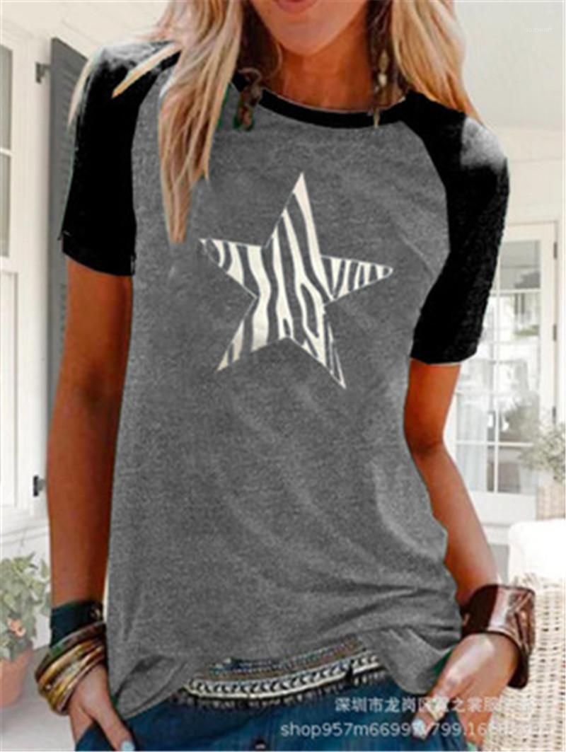 Колющие Повседневный Printed Streetwear дамы Tshirt Tops вокруг шеи Pentagram Tee Shirt Женщины с коротким рукавом Star Дизайнер Женский
