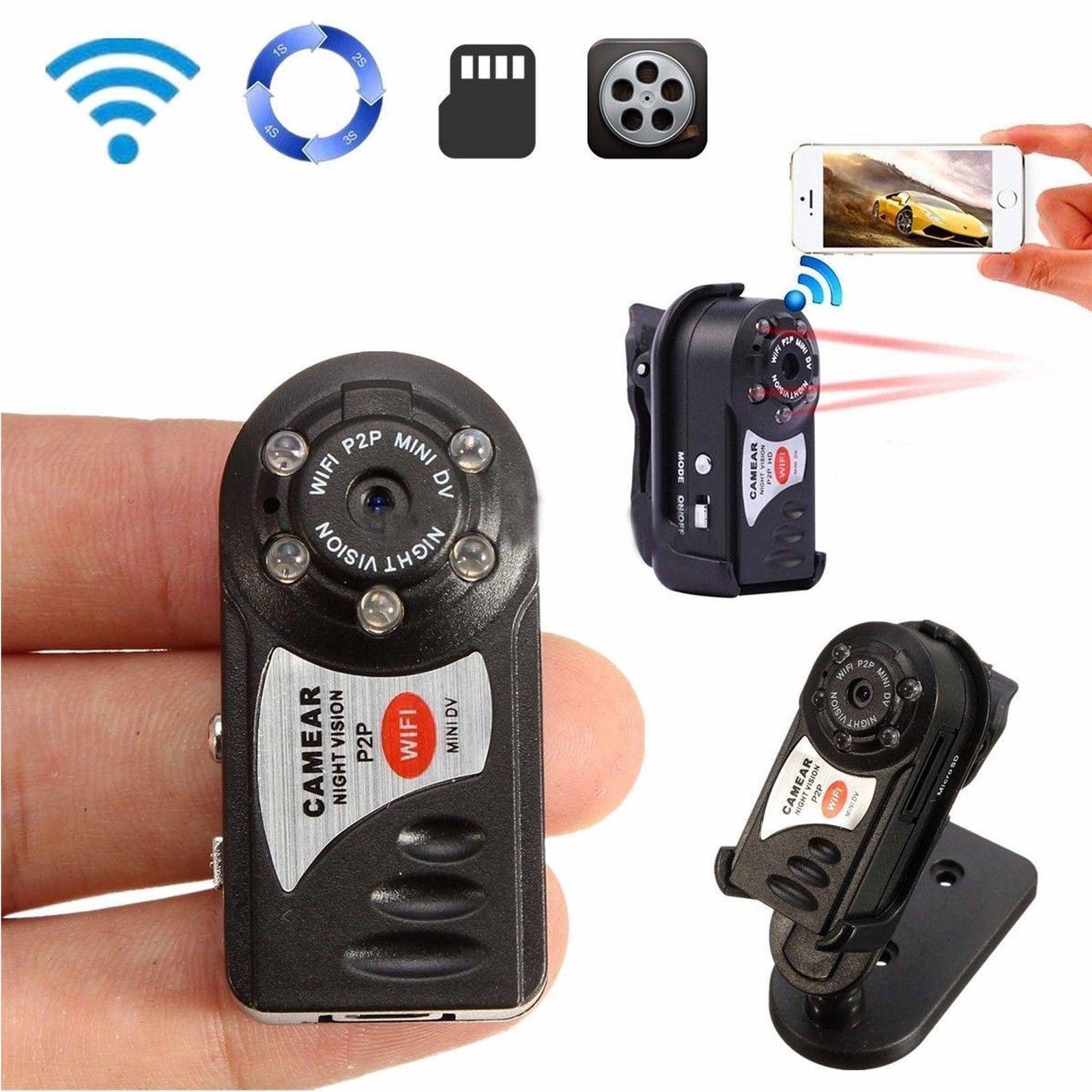 P2P لاسلكي عن بعد HD شبكة كاميرا الأشعة تحت الحمراء البسيطة مسجل فيديو 480P رؤية ليلية WIFI Q7 كاميرا رقمية صغيرة مصغرة DV كاميرا الفيديو