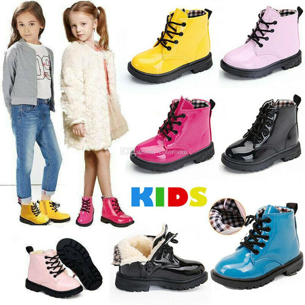 Kids Boys Girls Martin Boots Warm Lace-Up Ankle Boots Toddler Flat Martin Shoes