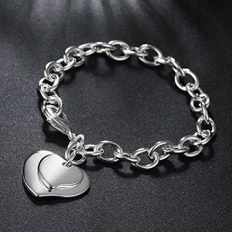 Aşk Kalp Bilezik Kadınlar Için Altın Gümüş Renk Bileklik Bilezik Bileklik Takı Charms Bilezik