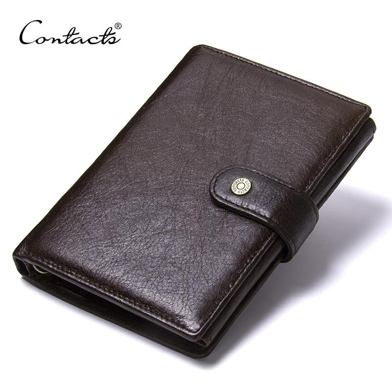 Contact's Top Quality Genuine Cow Leather Wallet Men Hasp Design Short Purse With Passport Photo Holder For Male Clutch Wallets Y19052104