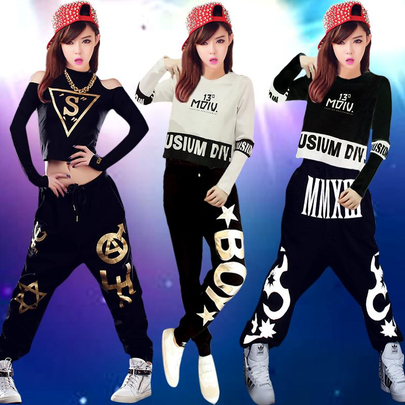 Street dance clothes female students suit Korean version of the modern hip-hop jazz dance shirt short paragraph