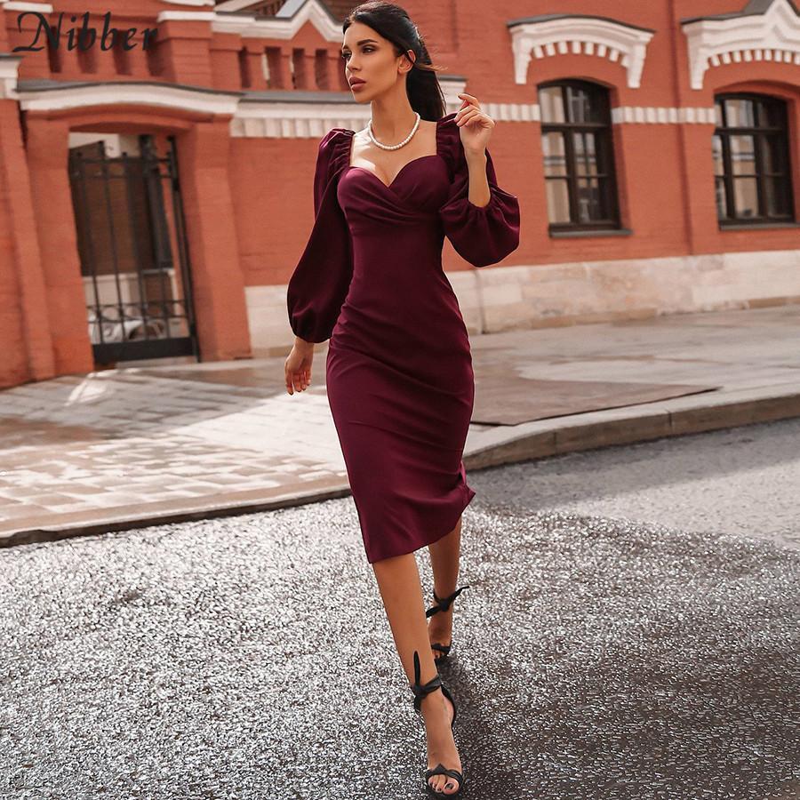 Pure sexy col en V Encolure Robe moulante Parti Femme Automne Hiver Night Club Rouge élégant Robe mi-longue Mujer robe noire