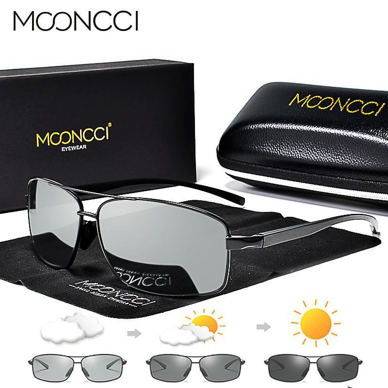 Gafas de sol fotocromáticas Mooncci hombres gafas de camaleón de aluminio polarizadas Hd Shades de conducción Gafas de sol Gafas de sol Oculos masculinas C19022501