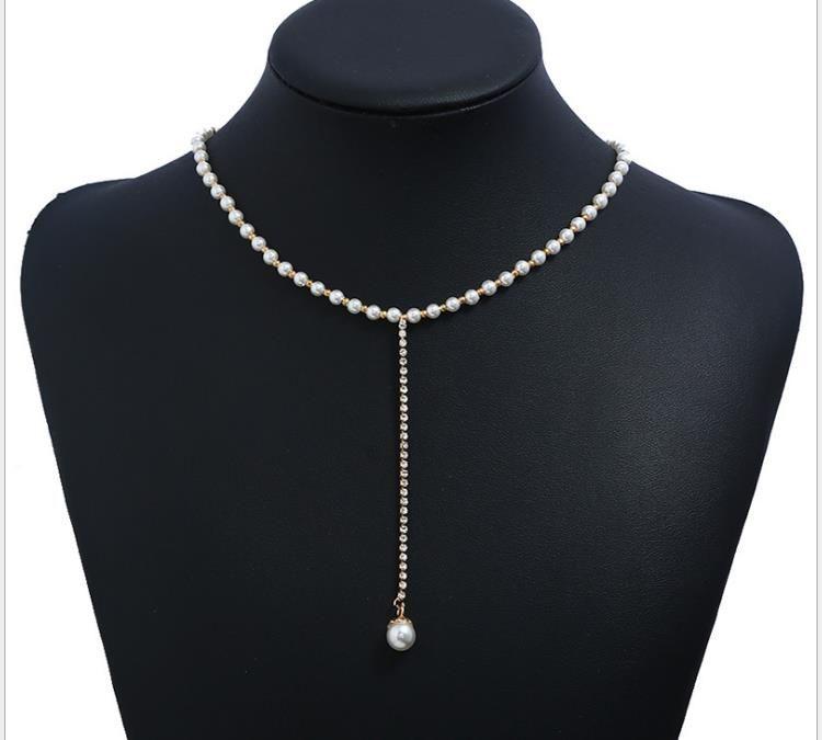 Moda euro-americana tendencia hip-hop personalidad accesorios simples clavícula collar ajustable con diamante perla colgante collar perla ne
