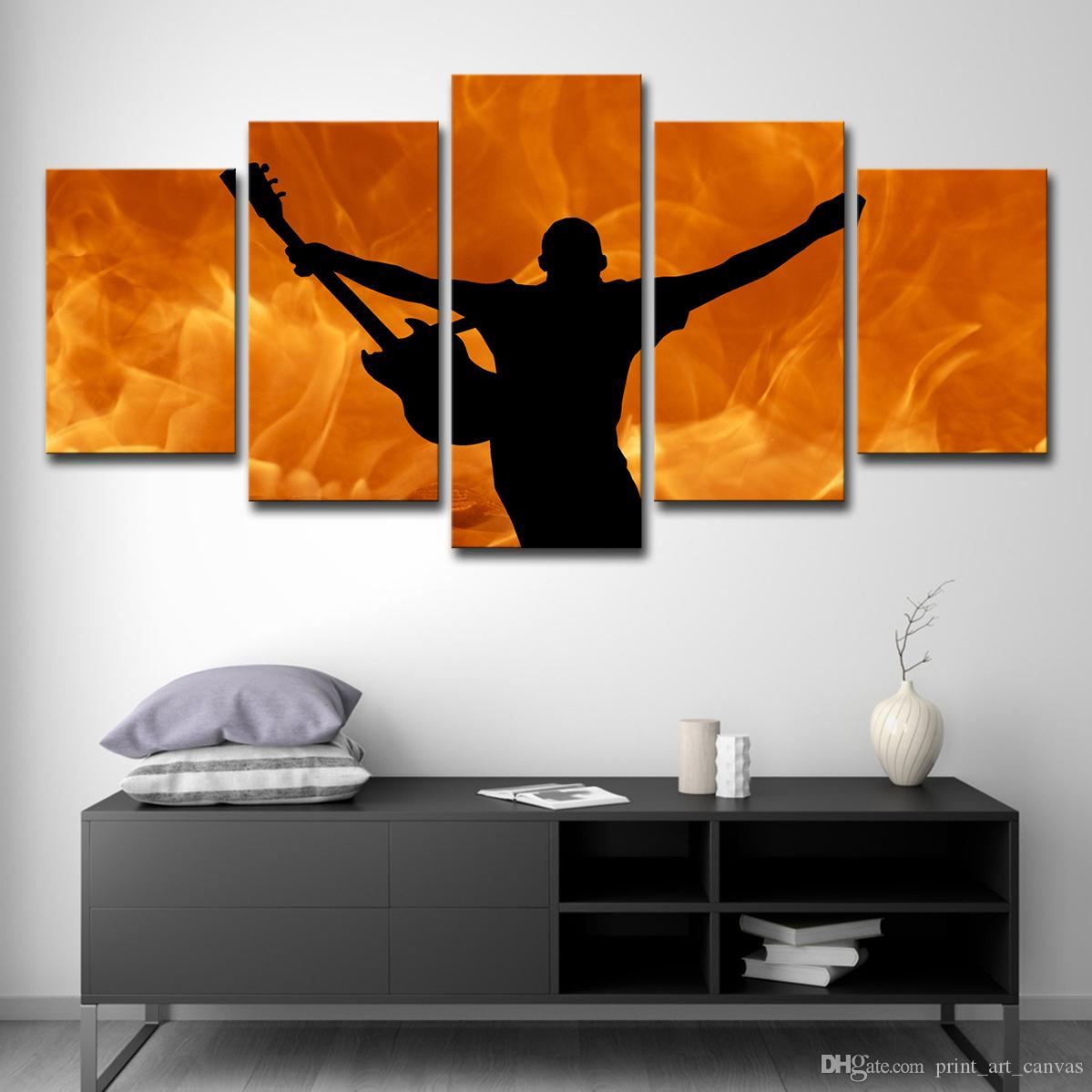 HD Printed 5 Piece Canvas Art Hot Guitar Player Fire Painting Fire Poster Wall Pictures for Living Room Free Shipping