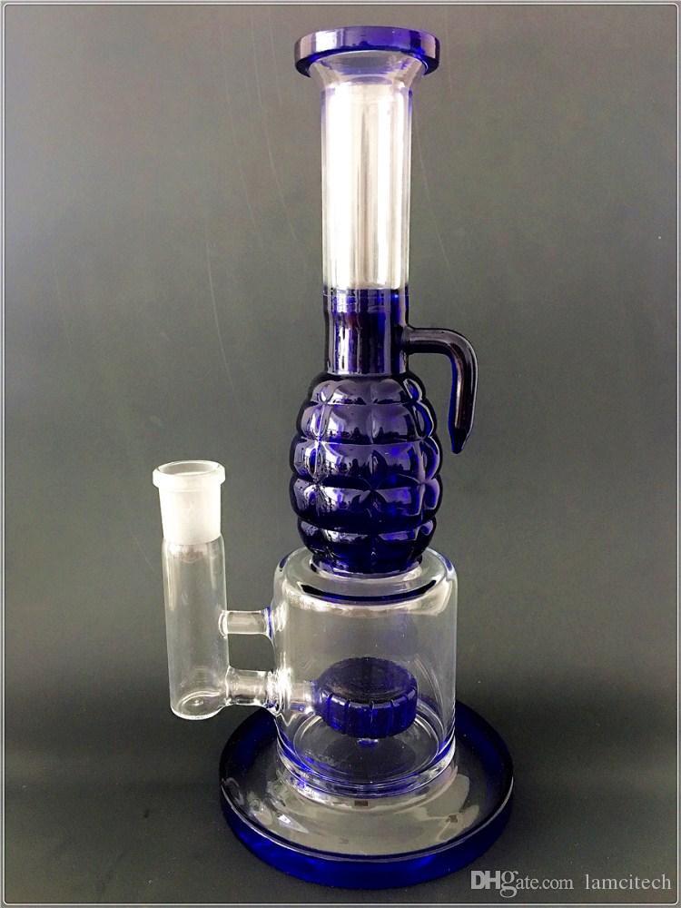 10 '' Pulgadas Wholsale Big Glass Bong Estéreo Cuello recto Tubos de agua para fumar Agua azul Filtro de reciclaje Aparejos para fumar