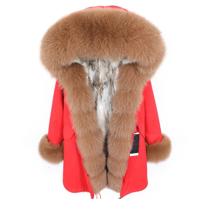 ropa de cuello de piel de zorro de las nuevas mujeres de la moda Parka desmontable forro de piel de conejo larga chaqueta de la capa de talla grande invierno de las mujeres de espesor MX191025