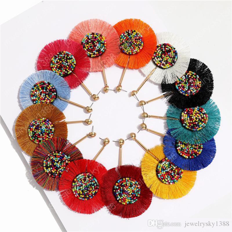 Bohème main Déclaration ronde Tassel Boucles d'oreilles pour les femmes Vintage Round long Boucles d'oreilles de soirée de mariage perles colorées frangée Boucles d'oreilles