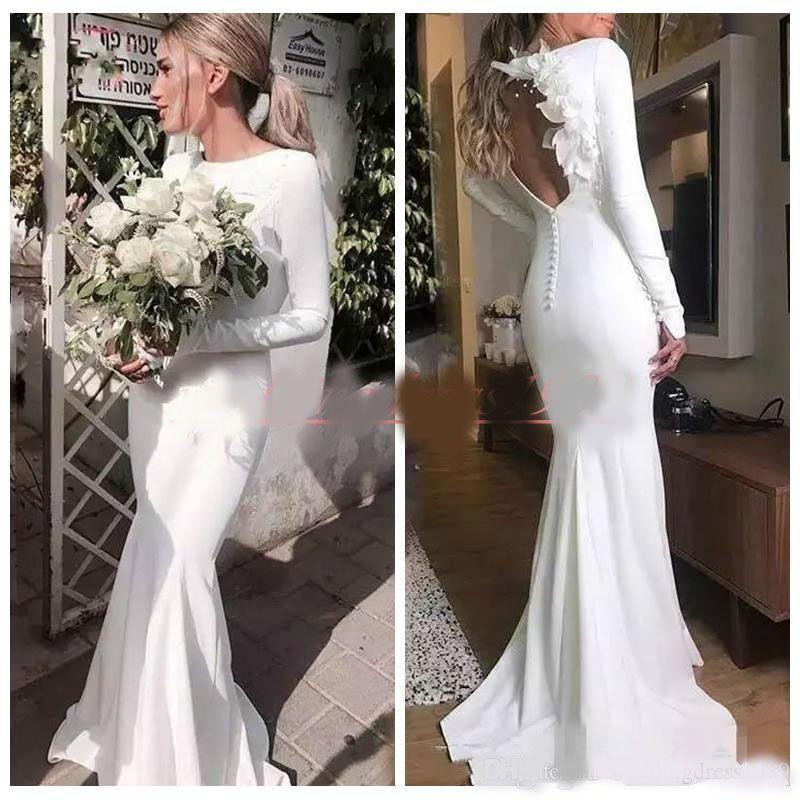 Reizend Satin Hohle Garten Mermaid Brautkleider Blume 2020 passten lange Hülse plus Größen Land Brautkleid Zug-Braut-Kleid-Gewohnheit