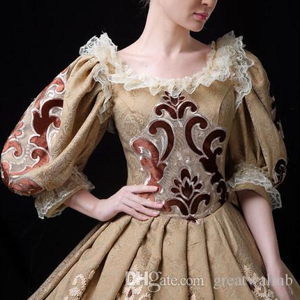 100% real luz encaje dorado cuello cuadrado de lujo vintage reina rococó vestido de fiesta vestido medieval Vestido renacentista Victorian Belle Ball