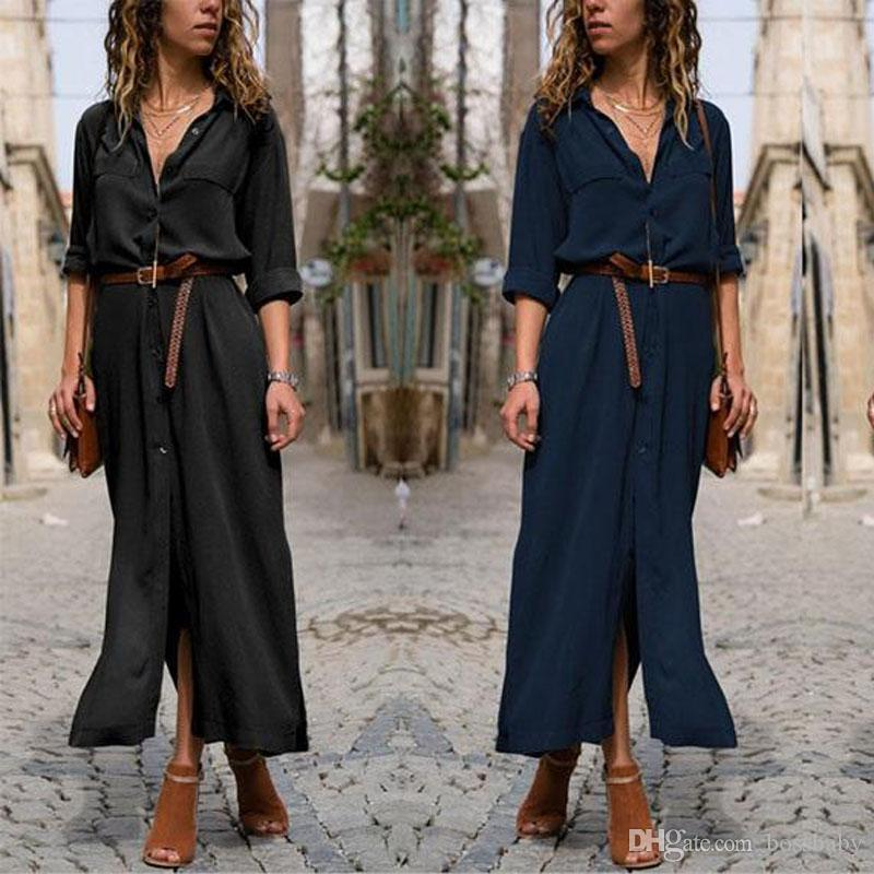 Camisa larga de las mujeres Vestido suelto Manga larga Gran Swing Split Collar Falda irregular Color sólido Falda larga 48