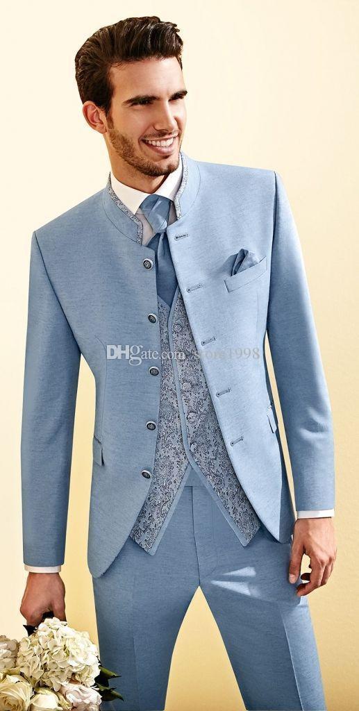 Модные Groomsmen мандарин отворотом Groom Tuxedos Пять кнопок Мужские костюмы Свадебные / Prom / Dinner Best Man Blazer (куртка + брюки + Tie + Vest) G322