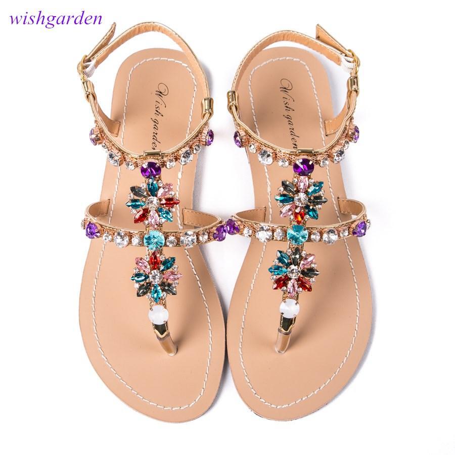 2020 nouvelles dames sandales été tanga diamant plage flip flops cristal brillant femmes occasionnels pantoufles en forme de T-bohème grande taille