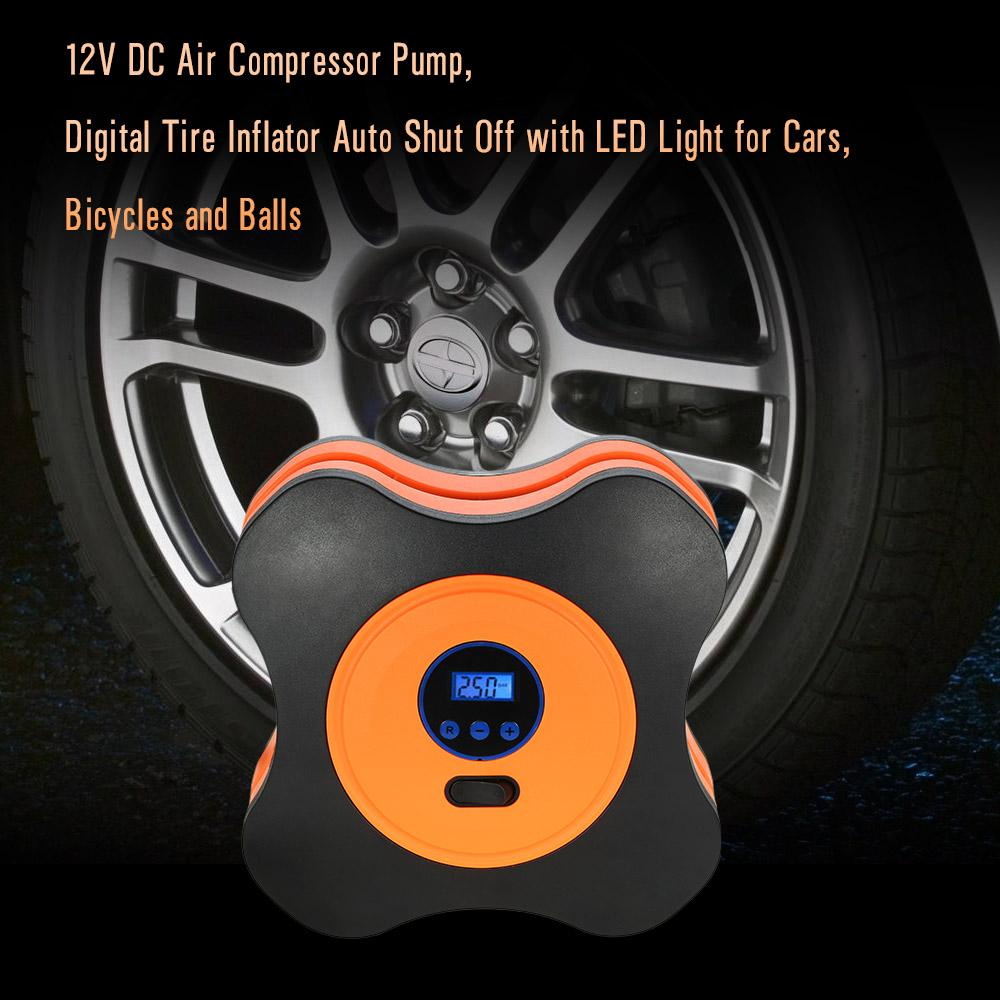 Freeshipping 12V DC Air Compressor Pump, Digital Tire Inflator Auto Shut Off with LED Light for Cars, Bicycles and Balls