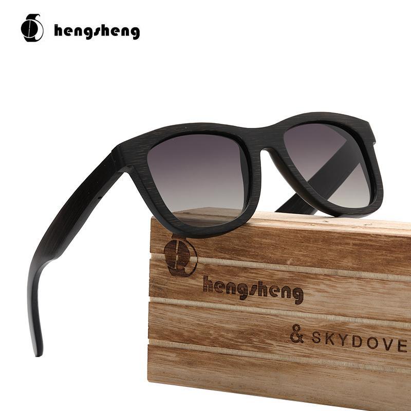 SKYDOVE Piloto preto de madeira de bambu Sunglasses tons para mulheres dirigindo Mens óculos polarizados de alta qualidade