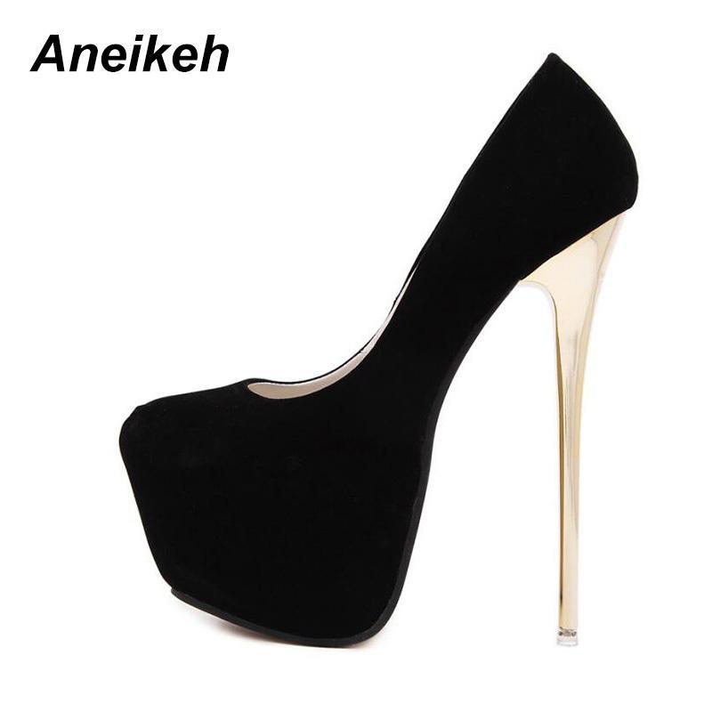 Aneikeh Big Taille 41 42 43 44 45 Sexy Pompes de mariage des femmes fétichistes Chaussures Femme Concise Pompes à talons hauts Décapant Flock Pompes 16 cm Y200113