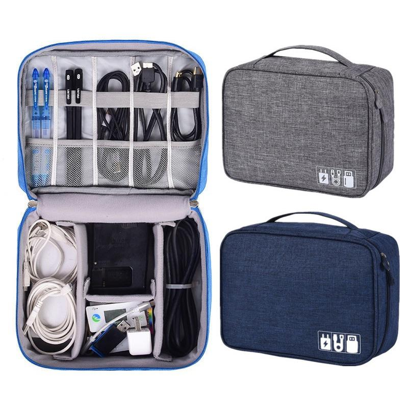 Portable Travel Cable Bag Digital USB Organizer Charger Wires Cosmetic Zipper Storage Pouch Kit Case Accessories Supplies