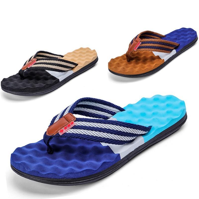 Men Beach Sandals 2019 Summer Beach Infradito Scarpe di alta qualità Maschio morbido fondo spesso sandali Scarpe casual appartamenti Q-530