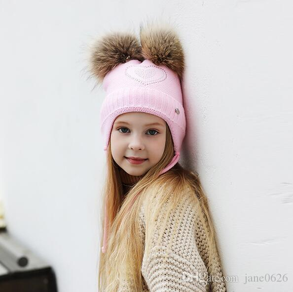 Double Hair Ball Cute Baby Cap,Winter Baby Keep Warm Winter Knitted Wool Earmuffs Hat For 2-6T