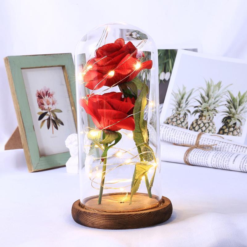 جديد اثنان الورود والزهور الصناعية LED ضوء سلسلة رومانسية مصباح طاولة ديكور المنزل هدية عيد الحب