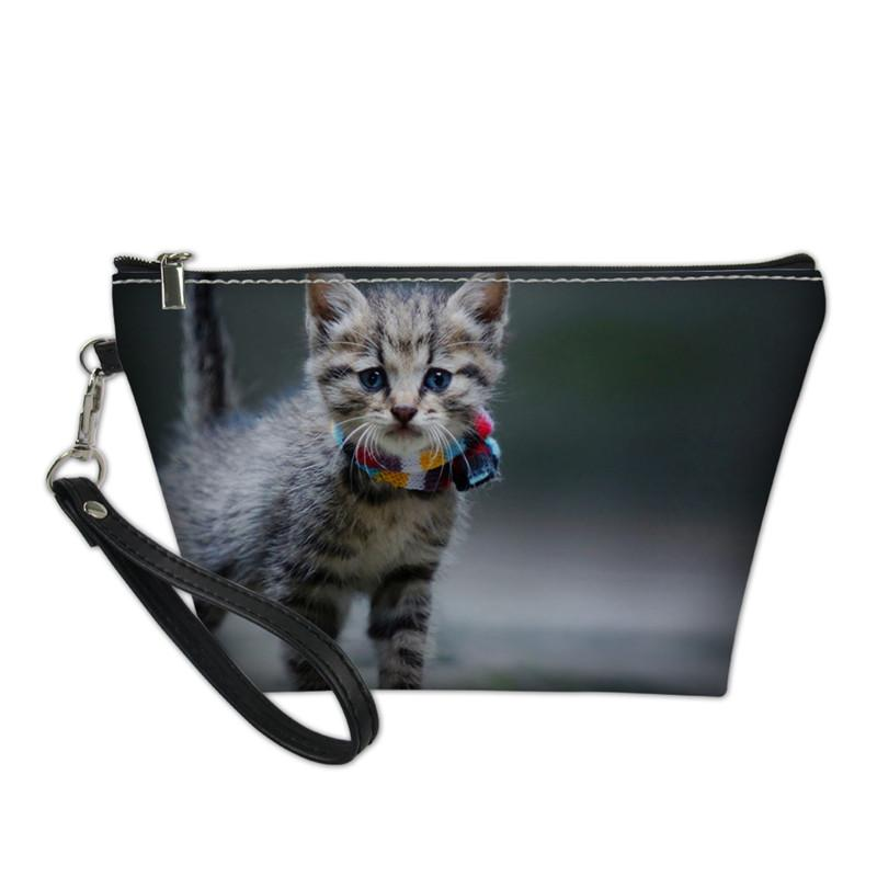 Custom Your Designers Cosmetics Bags New 3D Naughty Cat Cosmetic Bag Women Girls Female Necessarie Makeup Bag Drop Shipping