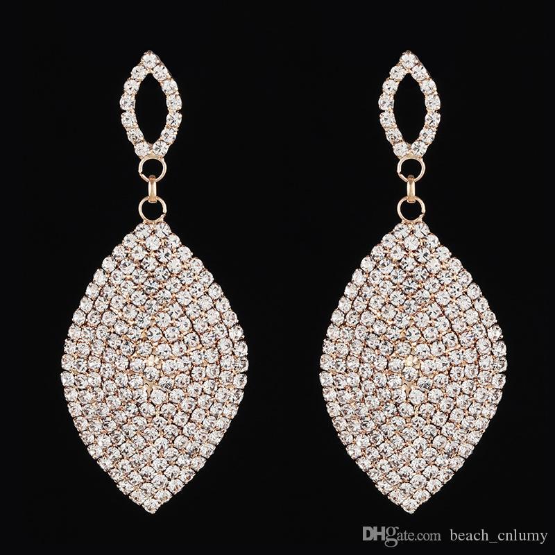Mariée strass collier boucles d/'oreilles bijoux larme Drop Crystal femmes