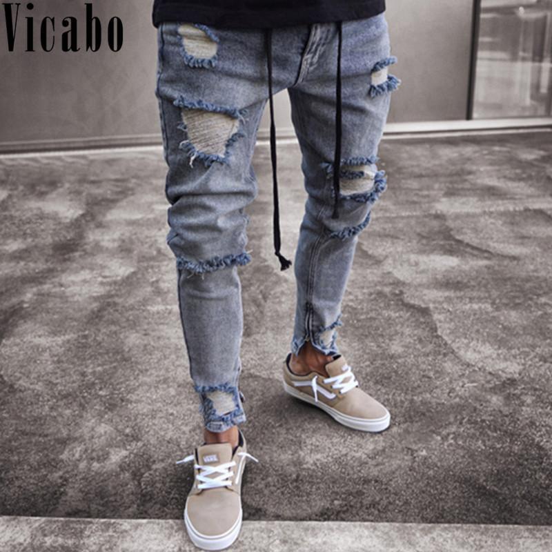 Vicabo Hip Hop Men Jeans Moda Buracos joelho jeans rasgado Homme Zip Calças Lápis Casual afligido Skinny Preto do motociclista Jean