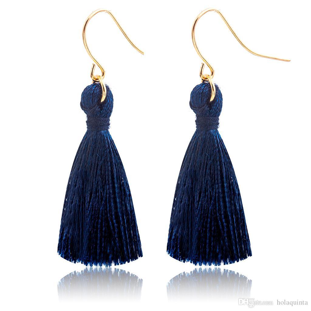 Mode Or Couleur Bleu Rouge Fringe Gland Boucles D'oreilles Noir Long Gland Boucles D'oreilles pour les Femmes Boucles D'oreilles 2019 Bijoux