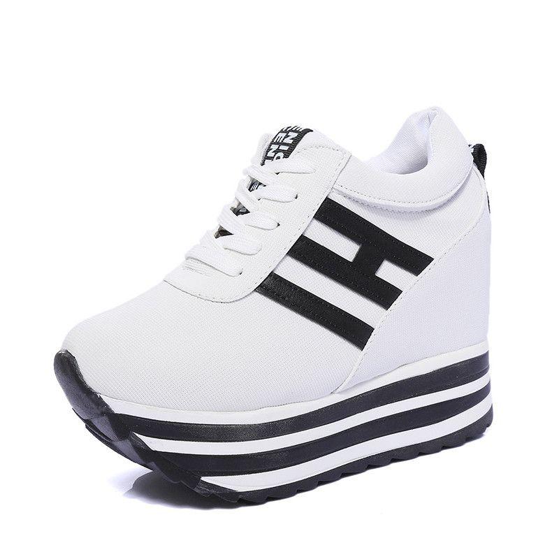 Frauen Aufzug Schuhe Leinwand Plattform Turnschuhe versteckt Keil Schuhe 2019 Frühjahr neue Mode weibliche lässig plattiert vulkanisierte Chunky Schuhe
