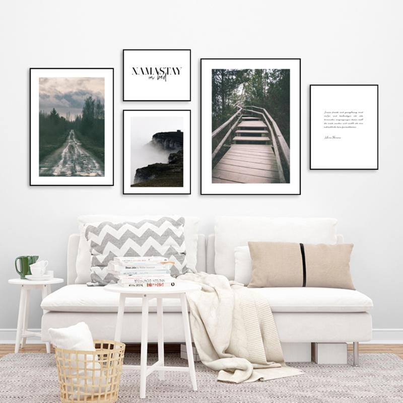 Nordic Misty Landscape Wall Art Canvas Painting Posters And Prints Wall Pictures For Living Room Bedroom Home Decors