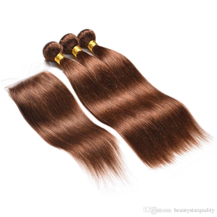 Brun clair Couleur 4 Cheveux raides Vague brésilienne du Pérou Vierge Cheveux Extensions cheveux réel Non traité
