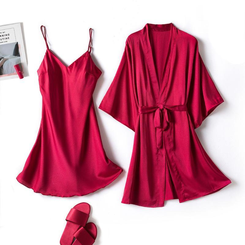 Verano satén de seda pijamas atractivos de las mujeres de los colores sólidos del tirante de espagueti del camisón de la ropa interior de los trajes Set interior pijamas ropa de dormir # g3