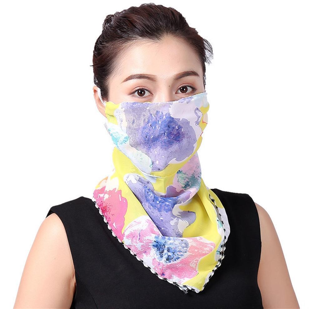 vSwGg Le donne devono affrontare Sciarpa Maschera 38 stili di chiffon di seta Fazzoletto esterna antivento faccia mezzo antipolvere Parasole Maschere Sciarpa Designer
