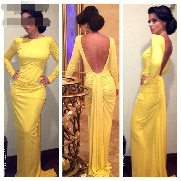 New African Mermaid Sexy Abendkleider Gelb langen Ärmeln Backless Abschlussball-Kleider nach Maß plus Größen-Partei-Kleid-Robe De Soiree